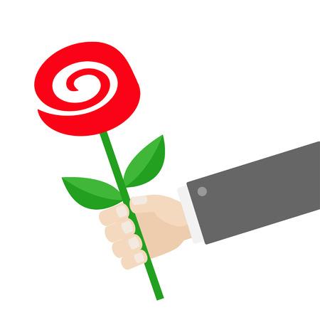 Mano del hombre de negocios que sostiene la flor color de rosa roja. Dar concepto de regalo. Personaje de dibujos animados lindo. Traje negro. Tarjeta de felicitación. Diseño plano.