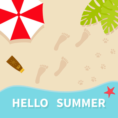 Hello summer. Top aerial view. Beach, sea ocean, sand, red umbrella, palm tree leaf, star fish, spf cream lotion, bare foot print. Pawprint. Greeting card Summer time background. Flat design. Vector Illustration