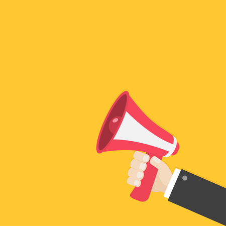 Businessman hand holding megaphone, speaker, loudspeaker icon. Announcement sign symbol. Flat design. Red color. Right corner template. White background. Isolated. Vector illustration