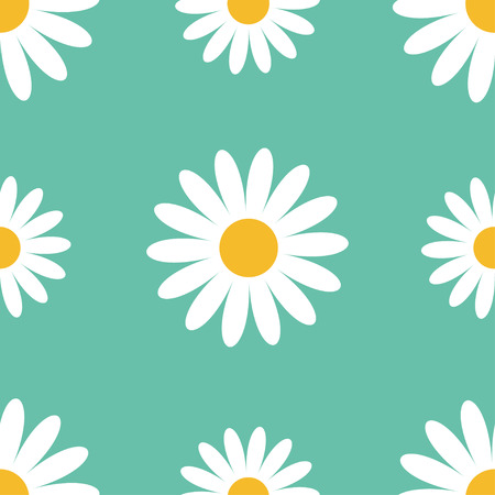 daisy wheel: Big white daisy chamomile. Cute flower plant collection. Camomile icon Growing concept. Seamless Pattern Wrapping paper, textile template. Green background. Flat design. Vector illustration.