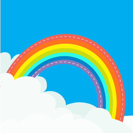 Rainbow in the sky. Dash line contour. Fluffy cloud in corners. Cloudshape. Cloudy weather. LGBT gay symbol sign. Flat design. Blue background. Isolated Vector illustration