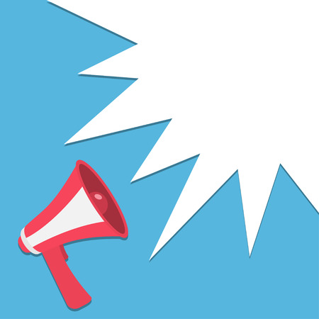 Megaphone, speaker, loudspeaker round icon. Announcement sign symbol in the corner. Star speech talking bubble template. Flat design. Red color. Blue background. Isolated. Vector illustration