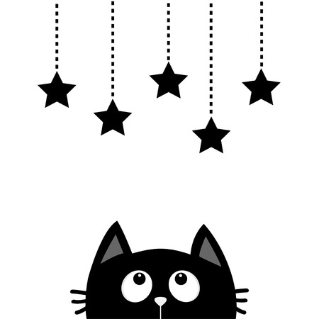 hang up: Black cat looking up to hanging stars. Dash line star shape set. Cute cartoon character. Valentines Day. Kawaii animal. Love Greeting card. Flat White background. Isolated. Vector illustration