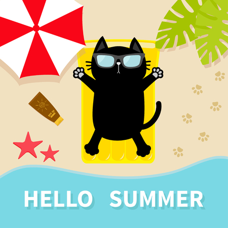Black cat sunbathing on the beach Yellow air pool water mattress. Hello summer. Top aerial view. Ilustracja