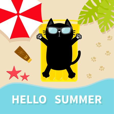 Gatto nero che prende il sole sulla spiaggia Materassino gonfiabile giallo. Ciao Estate. Vista aerea dall'alto. Archivio Fotografico - 81152428