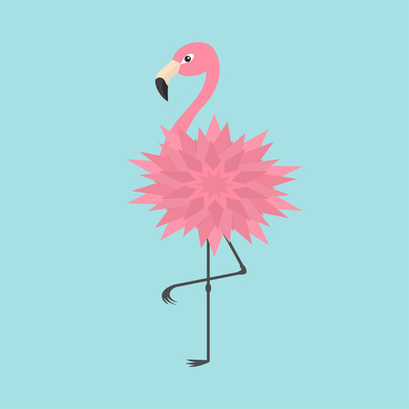 Pink flamingo standing on one leg. Flower body. Exotic tropical bird. Zoo animal collection. Cute cartoon character. Decoration element. Flat design. Blue background. Isolated. Vector illustration