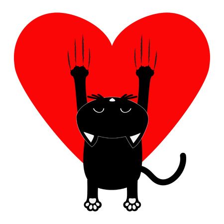 Red heart. Cartoon black cat. Back view. Red bloody claws animal scratch scrape track. Cute funny character with face. White background. Isolated. Flat design. Vector illustration