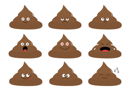 Cute poop emoji set. Funny cartoon characters. Emotion collection. Happy, surprised, crying, sad angry pupping. White background. Isolated. Flat design Vector illustration