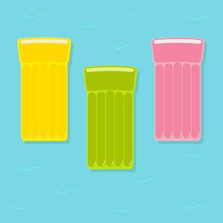 노란색, 분홍색, 녹색 공기 수영장 부동 물 매트리스 아이콘 집합입니다. 푸른 물 파도와 바다 바다 배경입니다. 외딴. 평면 디자인. 벡터 일러스트 레