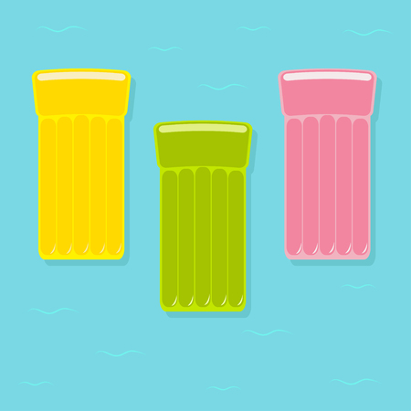 Yellow, pink, green air pool floating water mattress icon set. Blue water sea ocean background with wave. Isolated. Flat design. Vector illustration Illustration