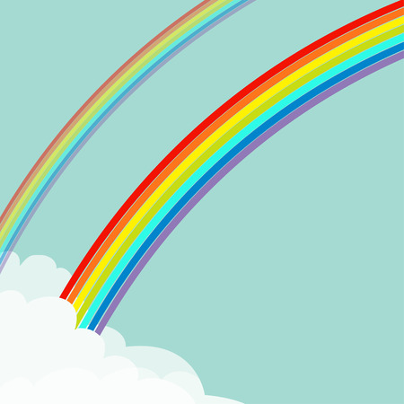Two rainbows in the sky. Fluffy cloud in corner frame template. Rainbow set. Cloudshape. Cloudy weather. LGBT sign symbol. Flat design. Blue background. Isolated Vector illustration