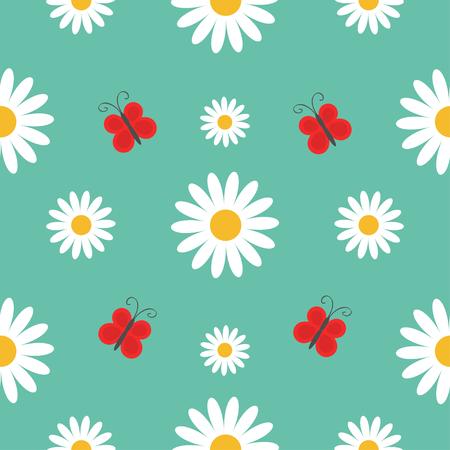 Seamless pattern of white daisy chamomile on green background Illustration