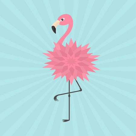 Pink flamingo standing on one leg. Flower body. Exotic tropical bird. Zoo animal collection. Cute cartoon character. Decoration element. Flat design. Blue starburst sun burst background. Vector Illustration
