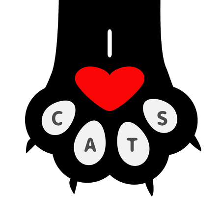 I love cats text. Big black cat paw print leg foot with nail claw. Cute cartoon character body part. Red heart sign symbol. Baby pet collection. Flat design. White background. Vector illustration