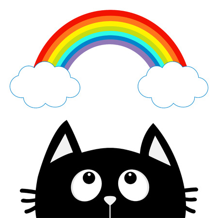 Black cat looking up to cloud and rainbow. Cute cartoon character. Valentines Day.
