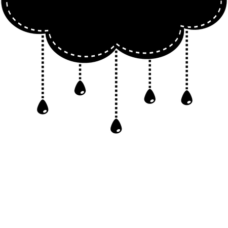 Cloud with hanging shining rain drops. Template. Dash line hanging water shape. White background. Isolated. Flat design. Vector illustration