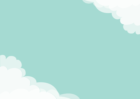 White cloud in corners frame template. Blue sky. Fluffy cloudshape. Cloudy weather. Flat design. Background. Isolated Vector illustration