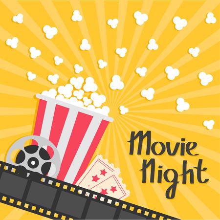 Popcorn popping. Big movie reel. Ticket Admit one. Three star. Cinema movie icon in flat design style.