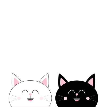 Black White Cat head couple family icon. Cute funny cartoon smiling character. Happy Valentines day Greeting card template. Kitty Whisker Baby pet collection background. Isolated. Flat design. Vector. Illustration