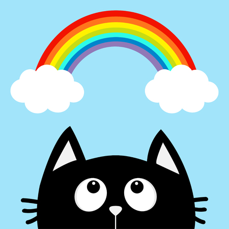 Black cat looking up to cloud and rainbow. Cute cartoon character. Valentines Day. Kawaii animal. Love Greeting card. Flat design. Blue background. Isolated. Vector illustration