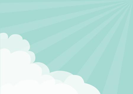 Nuage moelleux dans le modèle de cadre de coins. Ciel bleu. Les rayons du soleil éclatent. Ensoleillement. Cloudshape. Temps nuageux. Design plat. Contexte. Illustration vectorielle isolé
