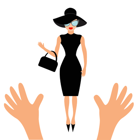 Hands reaching to woman in black hat, bag and sunglasses. Rich and beautiful celebrity girl. Beauty fashion model face red lips. People collection Cute cartoon character Flat White background Vector