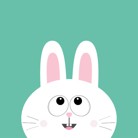 White bunny rabbit looking up. Cute cartoon smiling character. Surprised emotion. Baby greeting card. Happy Easter sign symbol. Green background. Flat design. Vector illustration