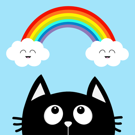 Black cat looking up to cloud and rainbow with smiling face. Cute cartoon character. Valentines Day. Kawaii animal. Love Greeting card. Flat design. Blue background. Isolated. Vector illustration Illustration