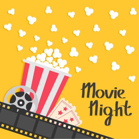 Popcorn popping. Big movie reel. Ticket Admit one. Three star. Cinema movie icon in flat design style. Film strip border. Red yellow strip box. Yellow background Vector illustration