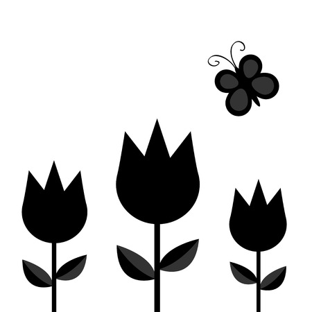 Three tulip flower set with leaf and flying butterfly insect black silhouette shape form. Simple sticker template. Floral plant decoration element. Flat design. White background. Isolated. Vector Illustration