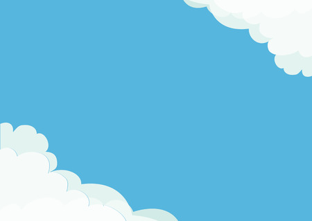 White cloud in corners frame template. Fluffy cloudshape. Cloudy weather. Flat design. Blue sky background. Isolated Vector illustration Illustration