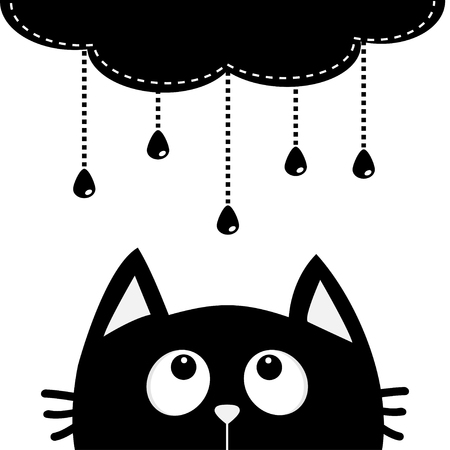 Black cat looking up to cloud with hanging shining rain drops. Dash line set. Cute cartoon character. Valentines Day. Kawaii animal. Love Greeting card. Flat design. White background Isolated. Vector Illustration
