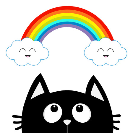 Black cat looking up to cloud and rainbow with smiling face. Cute cartoon character. Valentines Day. Kawaii animal. Love Greeting card. Flat design. White background. Isolated. Vector illustration