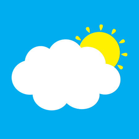 White cloud and yellow sun set. Fluffy clouds. Cute cartoon cloudscape. Cloudy weather sign symbols. Flat design Decoration element. Blues sky background. Isolated. Vector illustration