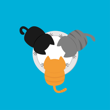 Three kittens eating drinking milk from plate bowl. Cat feeding concept. Funny kawaii baby kitty animal family. Cute cartoon pet character set. Flat design Blue background Isolated Vector illustration