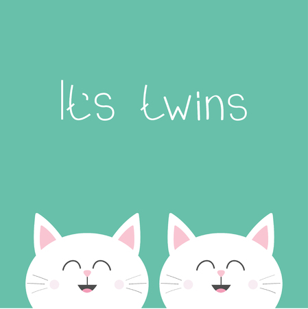 Its twins Two cute twin cats. Cat head couple family icon. Cute cartoon funny character set. Green background. Isolated. Flat design Vector illustration