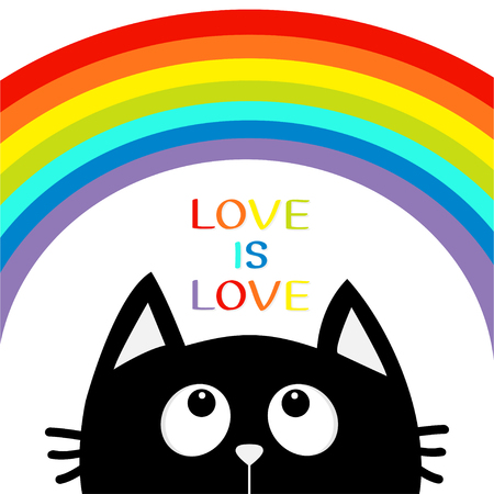 children silhouettes: Love is love. Black cat looking up to big rainbow. Cute cartoon character. Valentines Day. Kawaii animal. Love Greeting card. LGBT sign symbol. Flat design. White background. Isolated. Vector
