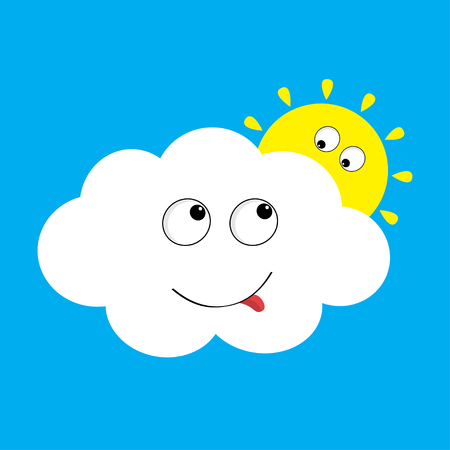 White cloud and yellow sun set looking to each other. Smiling face, tongue. Fluffy clouds. Cute cartoon cloudscape. Cloudy weather sign symbols. Flat design Blues sky background. Isolated. Vector