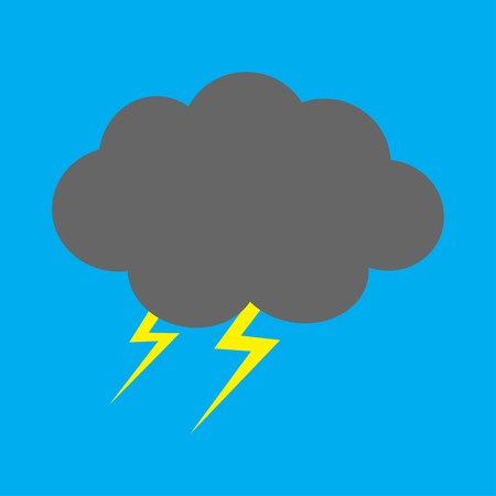 Cute cartoon kawaii dark cloud with thunderbolt. Storm lightning. Isolated. Blue sky background. Baby character collection. Funny illustration. Flat design. Vector illustration Illustration