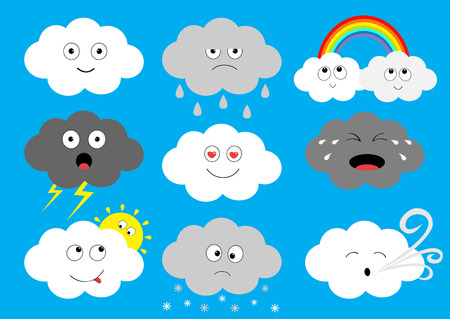 White dark cloud emoji icon set. Fluffy clouds. Sun, rainbow, rain drop, wind, thunderbolt, storm lightning. Cute cartoon cloudscape. Different emotion Flat design Blues sky background Isolated Vector Illustration