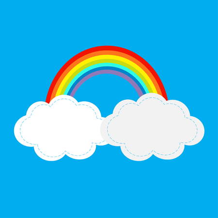 Rainbow and two clouds in the sky. Dash line cloudshape. Love card. LGBT sign symbol. Flat design. Blue background. Vector illustration.