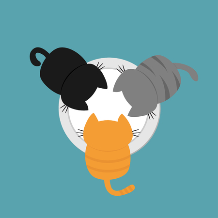Three kittens drinking eating milk from bowl plate. Funny kawaii baby kitty animal family. Cat feeding concept. Cute cartoon pet character set. Flat design Blue background Vector illustration