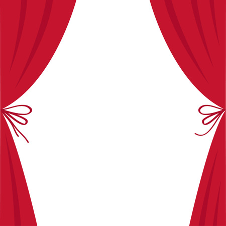 Open luxury red silk stage theatre curtain. Velvet scarlet curtains with bow. Flat design. Movie cinema premiere. Template. White background. Isolated. Vector illustration