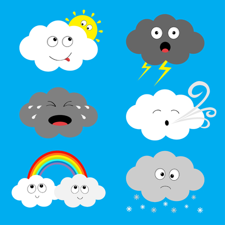 Cloud emoji icon set.