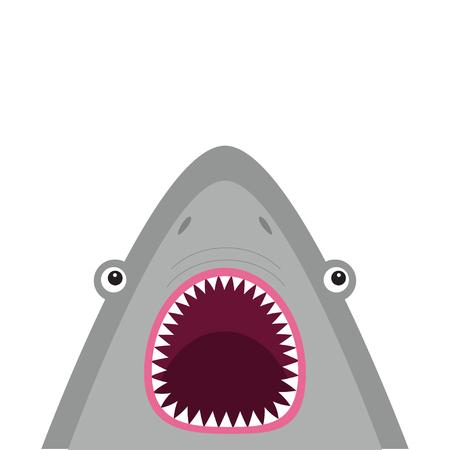 サメの頭は大きな口を開けて顔し、鋭い歯。かわいい漫画の動物キャラクター。赤ちゃんカード。海海の野生動物。ステッカー印刷テンプレート。