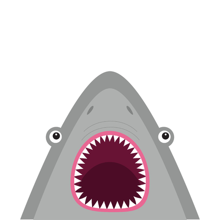 Shark head face with big open mouth and sharp teeth. Cute cartoon animal character. Baby card. Sea ocean wild animal. Sticker print template. Flat design. White background Isolated Vector illustration Ilustração