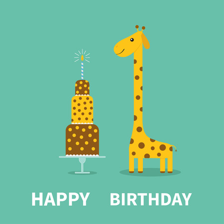 Happy birthday greeting card giraffe spot long neck cute cartoon happy birthday greeting card giraffe spot long neck cute cartoon character cake m4hsunfo