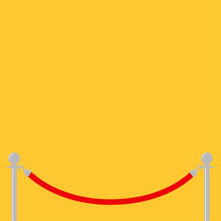 Red rope barrier stanchions turnstile facecontrol Yellow background Isolated. Flat design. Template. Vector illustration Illustration
