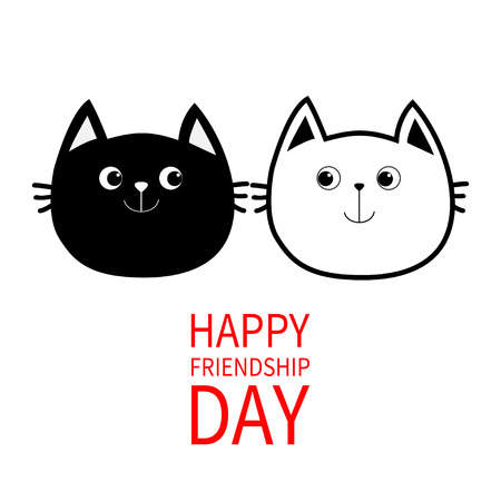black family: Happy Friendship Day. Black White contour Cat head couple family icon. Cute funny cartoon character set. Greeting card. Kitty Whisker Baby pet collection White background. Isolated. Flat design Vector
