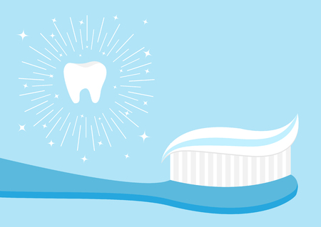 Healthy tooth icon set. Toothbrush with toothpaste. Brushing teeth Oral dental hygiene Brush paste Baby health care Shining effect stars Round line circle. Isolated. Blue background Flat design Vector